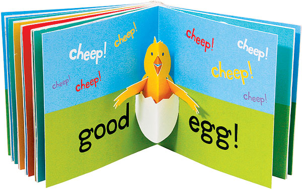 "Open book with ""Good Egg"" and chicken"