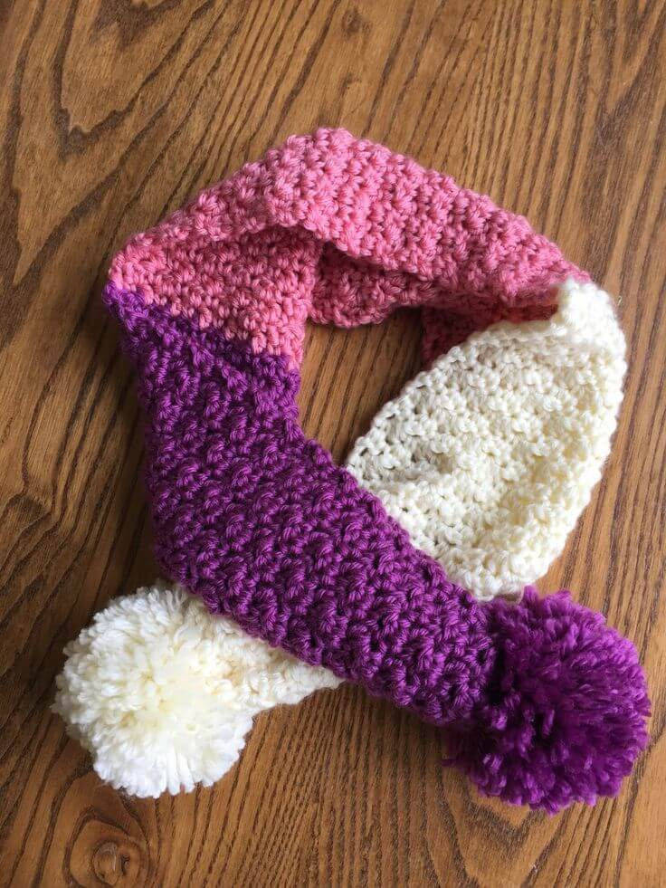 pink, purple and white scarf