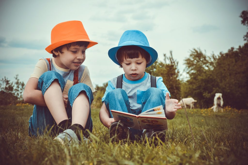 Two children reading a book in a meadow