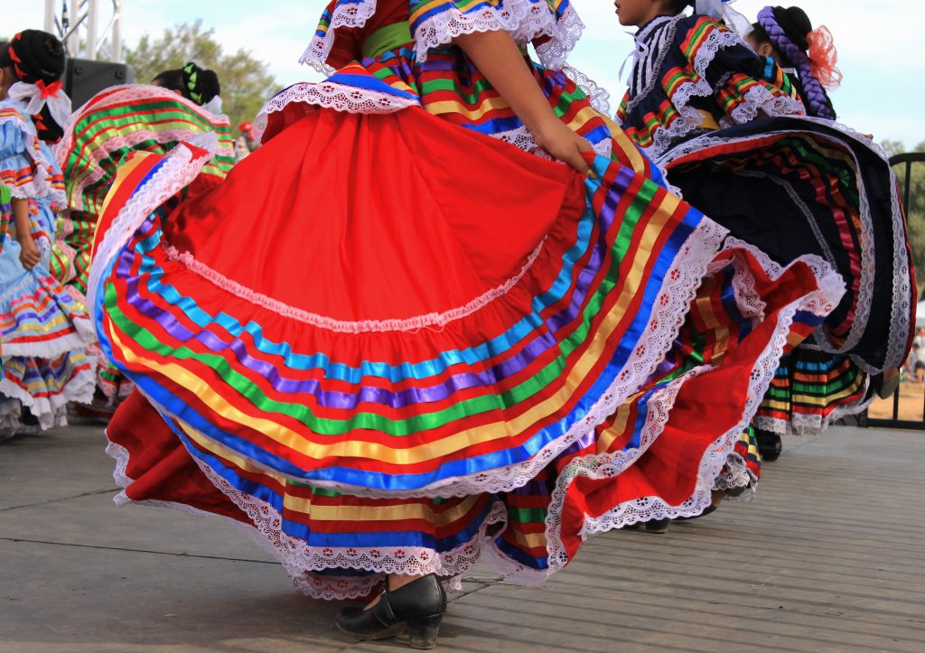 Colorful dresses in cultural dances