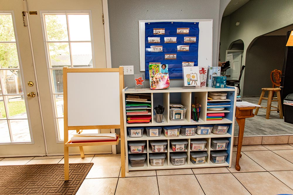 Arce's Daycare learning tools cubby