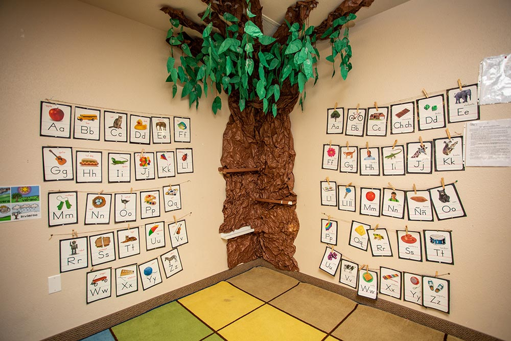 Faces of America ABC chart and paper tree corner
