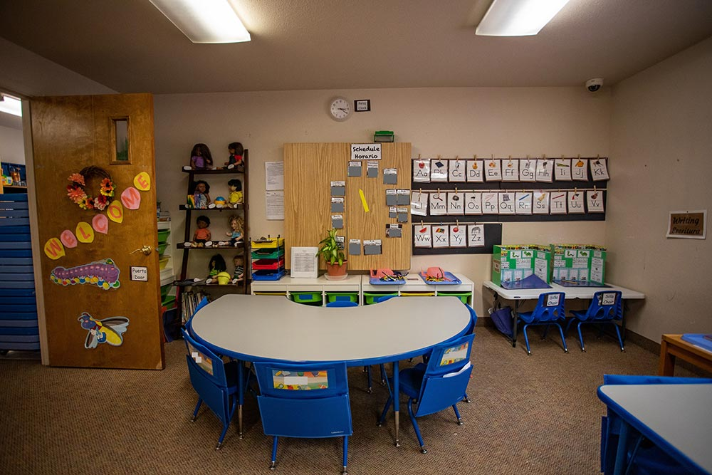 Faces of America classroom with round table and ABC chart