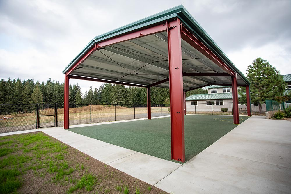 The Confederated Tribes of Grand Ronde outdoor covered turf area