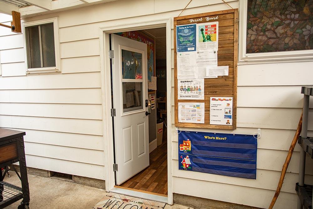 Island Adventures Childcare and Preschool door and Parent board