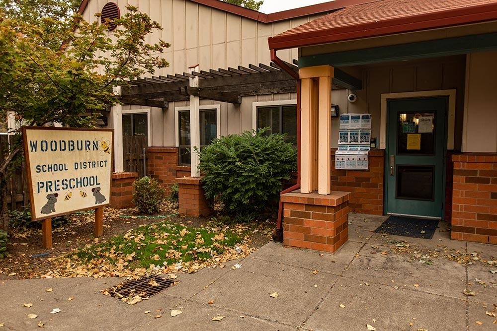 Woodburn School front door sign