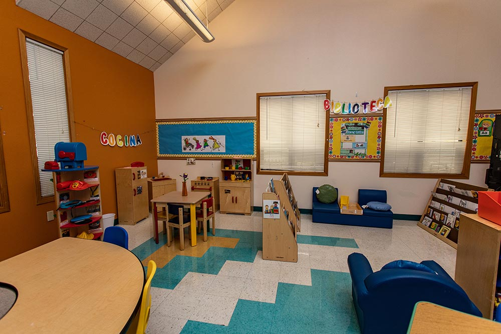 Woodburn School Library and play kitchen